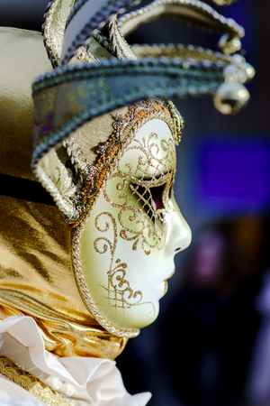 intrigue: Editorial, 6 March 2016: Rosheim, France: Venetian Carnival Mask - A most beautiful masks photographed in open street