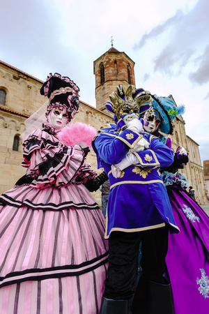 misterious: Editorial, 6 March 2016: Rosheim, France: Venetian Carnival Mask - A most beautiful masks photographed in open street