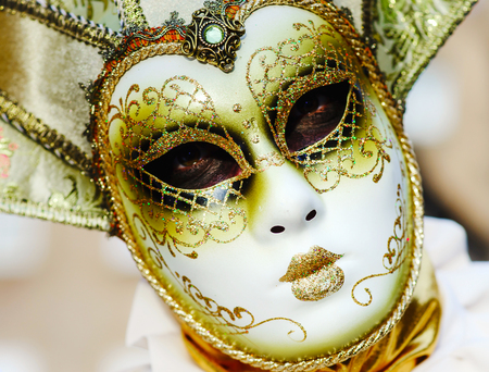grotesque: Editorial, 6 March 2016: Rosheim, France: Venetian Carnival Mask - A most beautiful masks photographed in open street