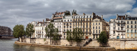 Seine river in Paris, panoramic view, summer day, France Stock Photo