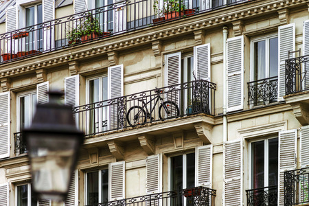 velo: Typical Paris street view, summer day.  France