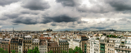 penthouse: Paris roofs panoramic overview at summer day, France, traditional postcard picture Stock Photo