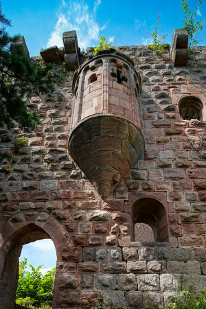 Old medieval fortress ruins of Chateau Landsberg in deep forest, Alsace, France