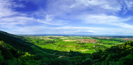 Majestic overview to the beautiful valley from the top of the hill, Alsace, France