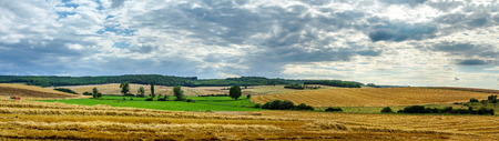 tranquillity: Wide panoramic view of colorful field, nature and agriculture, France Stock Photo