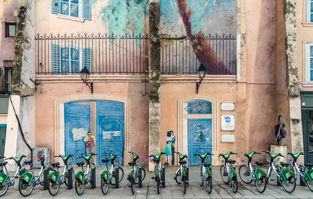 velo: Editorial,31st July 2016: Nancy, France: Touristic center of the city, street view Editorial