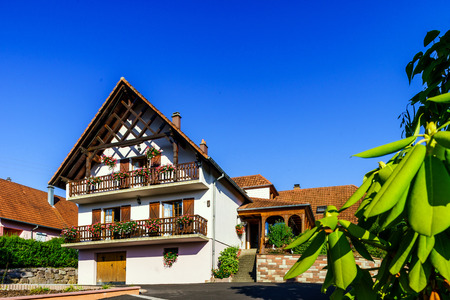 vibrant cottage: Beautiful guesthouse in Alsace, France. Alpine style decoration. Sunny day, vibrant colors.