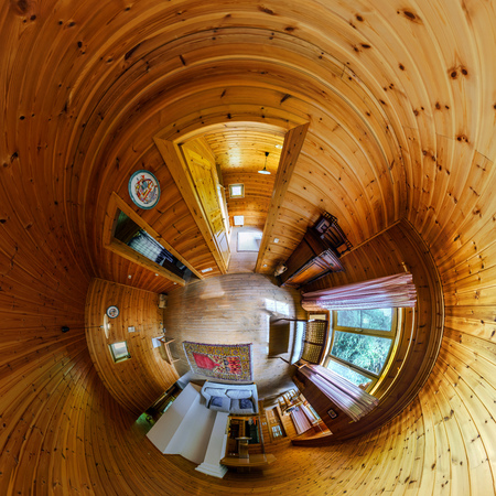 distort: House interior in little planet view style, space distortion