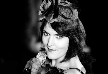 Christel Kern singing chanson. Portrait of french actress. Expressive concert repetition, Strasbourg, France. Stock Photo