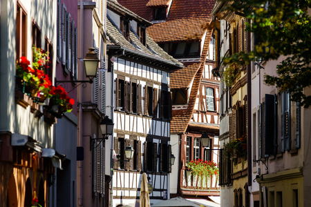 old center: Sunny day on the street of old center, Strasbourg, touristic concept