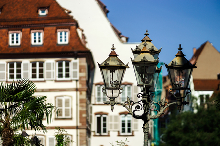 Sunny day on the street of old center, Strasbourg, touristic concept