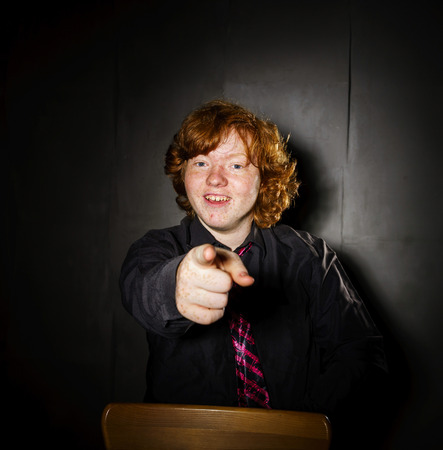 emotive: Emotive portrait of red-haired freckled boy, actor portfolio, childhood concept Stock Photo