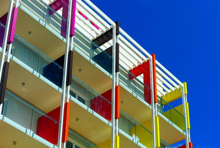 Beautiful colorful fasade of new hotel on sea resort. Touristic concept