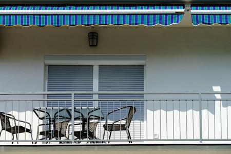 louver: Window with shutters closeup view, sunny day on sea resort, Croatia Stock Photo