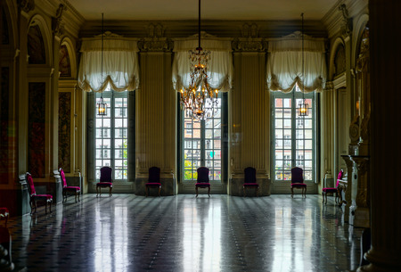 Beautiful dancing hall interior in classic french palace, Strasbourg Editorial