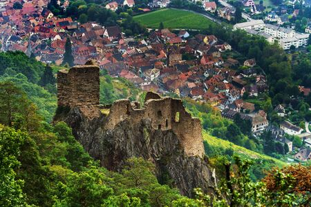 Majestic medieval castle Girsberg ruins on the top of the hill, Alsace, France Editorial