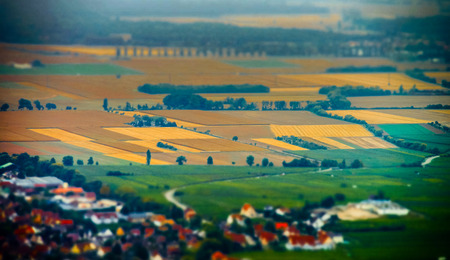 Aerial panoramic tilt-shift view to village Ribeauville from drone, Alsace, France