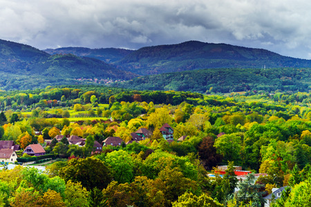 Autumn colors of the trees, overview to the valley, Alsace