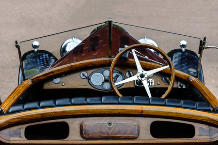 xx century: Beautiful retro car. Elegance and style of  first part of XX century. Details view.