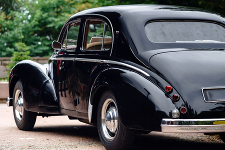 Beautiful retro car. Elegance and style of  first part of XX century. Details view.
