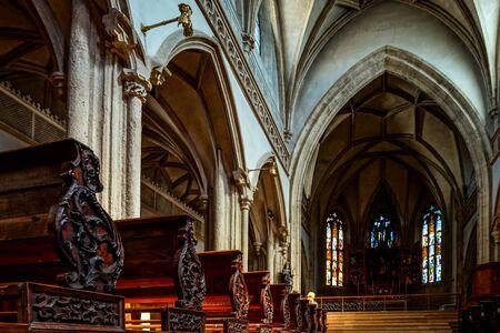 church interior: Beautiful medieval church interior, Salzburg, Austria