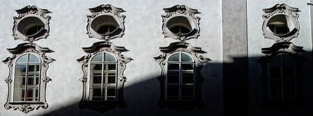 old center: Street, buildings and windows, old center of Salzburg, Austria Stock Photo