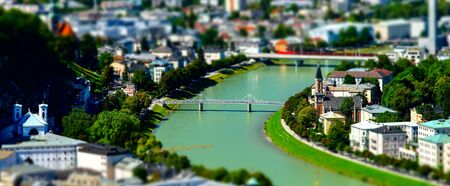 Tilt-shift aerial view to Salzburg, miniature effect, Austria