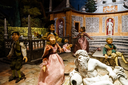 puppet master: Editorial: 23 august 2016. Austria, Salzburg. Museum of old marionettes, theater of dolls. Editorial