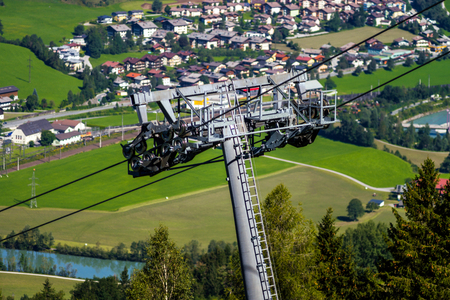 Ski elevator working at summer for tourists, Austria Stock Photo