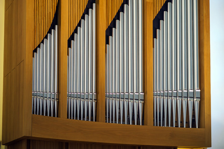 conservatory: Modern pipe organ in renovated building of conservatory, muusic education Stock Photo