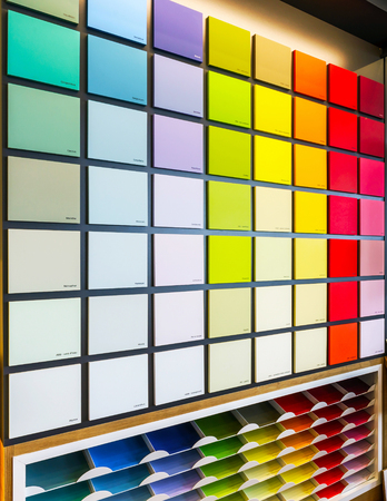 constructing: Beautiful wall with color samples in painting shop, constructing materials