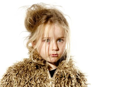 Surprised disheveled preschooler girl with long hair, isolated on white background