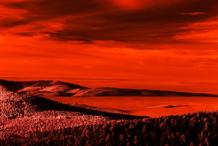 Fantastic aerial infrared view of mountain landscape, like the Lune Stock Photo