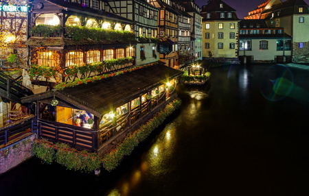 old center: Old center of Strasbourg night street view, France Stock Photo