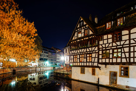 Old center of Strasbourg night street view, France Editorial