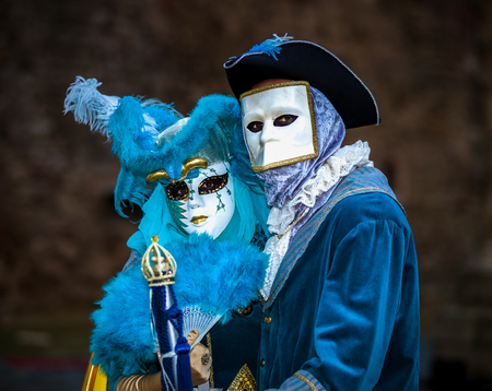 misterious: Editorial, 4 March 2017: Rosheim, France: Venetian Carnival Mask - most beautiful masks photographed in open street