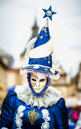 4 March 2017: Rosheim, France: Venetian Carnival Mask - most beautiful masks photographed in open street Editorial