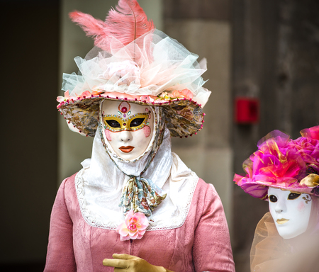 misterious: 4 March 2017: Rosheim, France: Venetian Carnival Mask - most beautiful masks photographed in open street Editorial