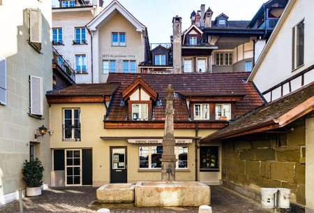 renovated: Classic city architecture of Switzerland street view, touristic concept