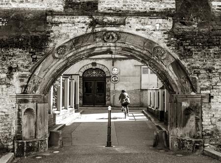 fasade: Old historical building in Strasbourg, France, springtime