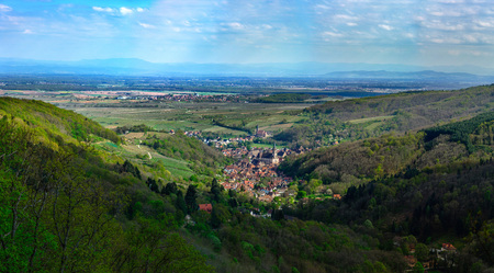 High resolution aerial view of village Andlau in Alsace, France, springtime Stock Photo