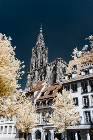 Strasbourg cathedral view in infrared, France Editorial