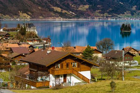 tranquillity: Iseltwald village on the lake in Switzerland, springtime