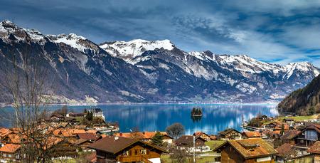 Beautiful panoramic view of blue lake in Iseltwald, Switzerland