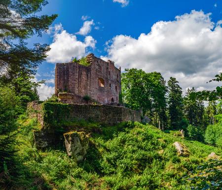 broken hill: Majestic ruins of medieval castle Birkenfels, Alsace, France