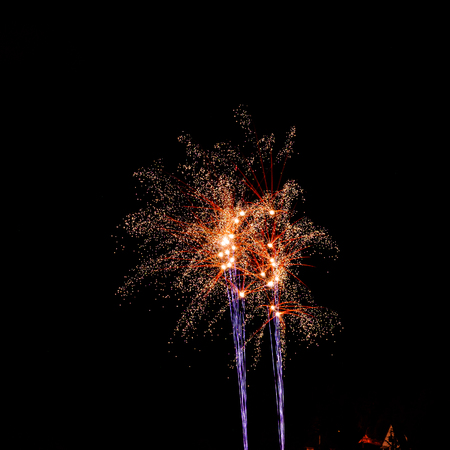 Long Exposure of Multicolored Fireworks Against a Black Sky - Bastille Day