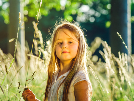 Cute little preschooler girl portrait in sunset forest with warm evening light