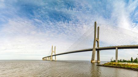 Vasco da Gama bridge in Lisbon panoramic view, Portugal Stock Photo