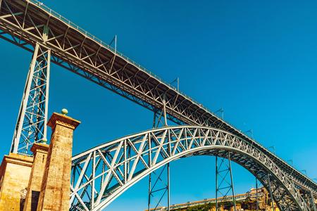 Beautiful steel bridge of St. Luis in Porto, Portugal