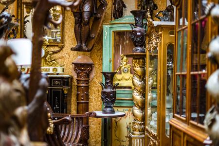 Old vintage furniture in antique shop, Bruxelles, Belgium